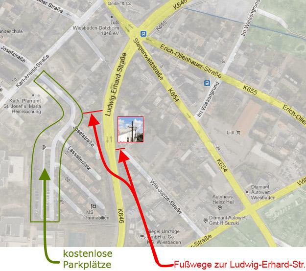 Skizze Parkplatz und Fußweg